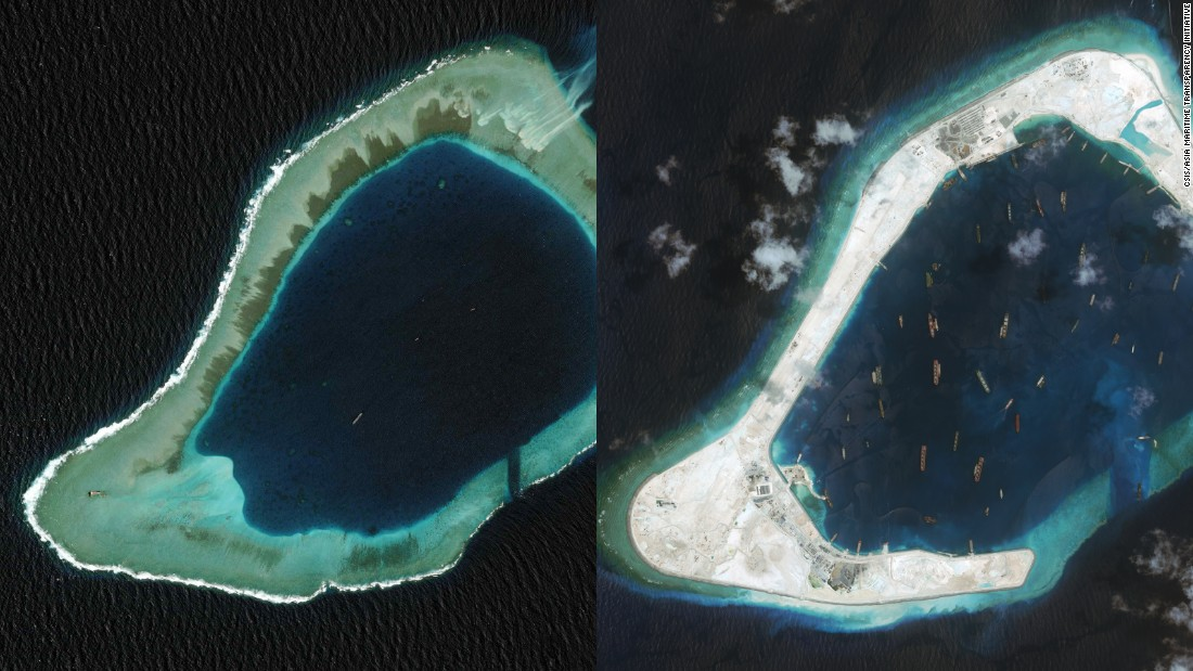 Subi Reef in the South China Sea in August 2008, left, and in September 2015, right. China is also constructing a runway here.