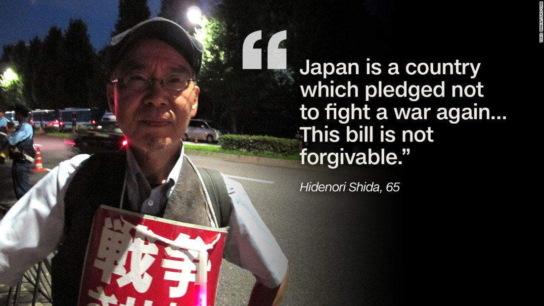 "Hidenori Shida, 65, says he is frightened by the idea that a Japanese military bullet one day might kill someone overseas. ""Japan is a country which pledged not to fight a war again, to hold no combat power as a remorse after war. We have killed no one in the (past) 70 years. This bill is not forgivable."""