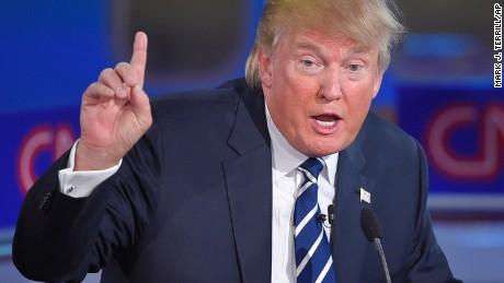 Republican presidential candidate, businessman Donald Trump speaks during the CNN Republican presidential debate at the Ronald Reagan Presidential Library and Museum on Wednesday, Sept. 16, 2015, in Simi Valley, Calif. (AP Photo/Mark J. Terrill)