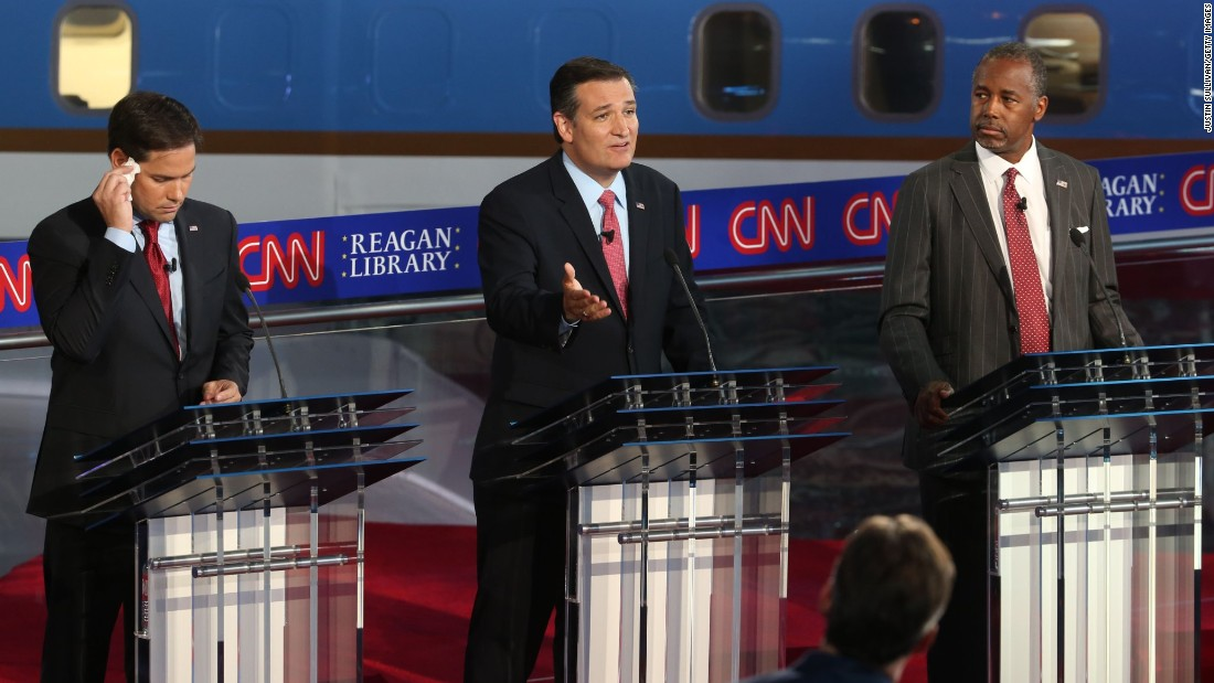 Cruz speaks during the debate.