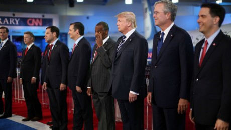 Republican presidential candidates (L-R) Rick Santorum, U.S. Sen. Rand Paul (R-KY), Mike Huckabee, U.S. Sen. Marco Rubio (R-FL) , U.S. Sen. Ted Cruz (R-TX),  Ben Carson, Donald Trump, Jeb Bush and Wisconsin Gov. Scott Walker stand onstage during the presidential debates at the Reagan Library on September 16, 2015 in Simi Valley, California.