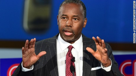 Republican presidential hopeful  Ben Carson speaks during the Republican presidential debate at the Ronald Reagan Presidential Library in Simi Valley, California on September 16, 2015.  Republican presidential frontrunner Donald Trump stepped into a campaign hornet's nest as his rivals collectively turned their sights on the billionaire in the party's second debate of the 2016 presidential race.  AFP PHOTO / FREDERIC J. BROWN        (Photo credit should read FREDERIC J BROWN/AFP/Getty Images)