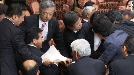 Japanese lawmakers get physical