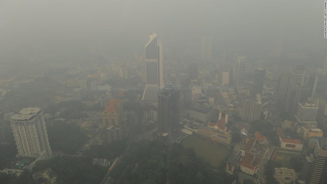 Thick haze shrouds Kuala Lumpur on September 11.