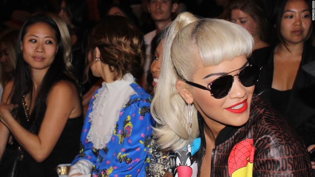 Artist Rita Ora sits front row at the Jeremy Scott show