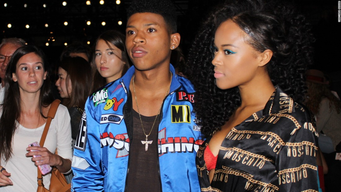 """Members of the """"Empire"""" cast Bryshere Y. Gray and Serayah McNeil take a photo before the Jeremy Scott show begins"""