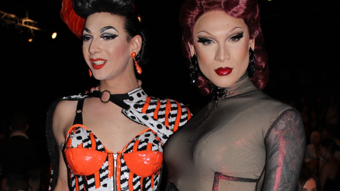 Miss Fame and Violet Chachki attend the Jeremy Scott show during New York Fashion Week