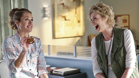 """ANGEL FROM HELL, starring Jane Lynch (right), is CBS\'s new single camera comedy about Amy (Lynch), a colorful, brassy woman who insinuates herself into Allison\'s (Maggie Lawson, left) organized and seemingly perfect life, claiming to be her """"guardian angel."""" ANGEL FROM HELL premieres Thursday November 5, (9:30-10:00 PM, ET/PT) on the CBS Television Network. Photo: Cliff Lipson/CBS é2015 CBS Broadcasting, Inc. All Rights Reserved."""