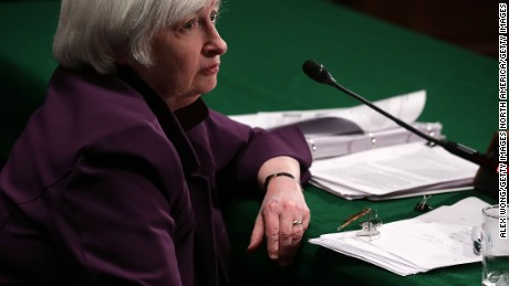 """WASHINGTON, DC - JULY 16:  Federal Reserve Board Chair Janet Yellen listens as she testifies during a hearing before Senate Banking, Housing and Urban Affairs Committee July 16, 2015 on Capitol Hill in Washington, DC. The committee held a hearing on """"The Semiannual Monetary Policy Report to the Congress.""""  (Photo by Alex Wong/Getty Images)"""