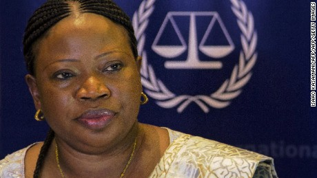 International Criminal Court's prosecutor (ICC), Fatou Bensouda, addresses a press conference in Kampala on February 27, 2015.  The International Criminal Court's prosecutor said today that the evidence against Dominic Ongwen is incomplete and more time is needed to gather evidence against a Ugandan rebel commander who faces trial at The Hague court.  AFP PHOTO/ ISAAC KASAMANI        (Photo credit should read ISAAC KASAMANI/AFP/Getty Images)