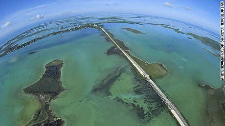 The Florida Keys' Overseas Highway as it bisects the Atlantic Ocean, left, and the Gulf of Mexico on the right
