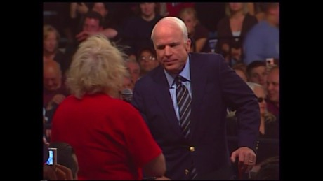 McCain 2008 presidential campaign audience question on Obama as arab _00001129