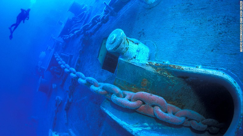 Spiegel Grove, a retired Navy landing ship dock that's sunk off Key Largo, is open to divers.