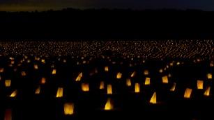 Memorial illumination at the stockade site on Friday, September 18.