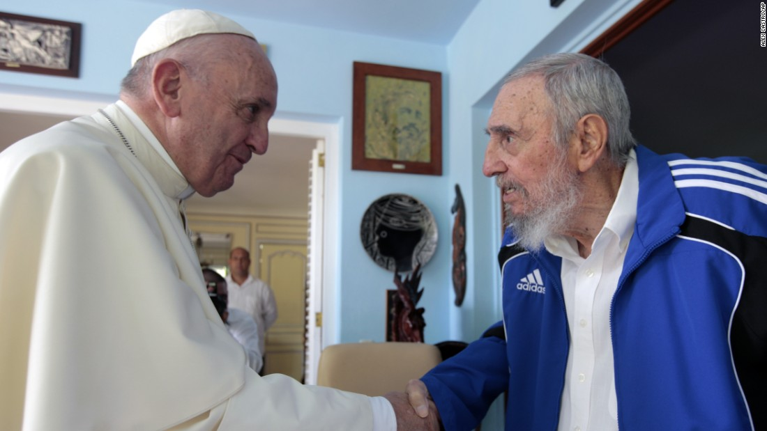Pope Francis shakes hands with Fidel Castro in Havana on September 20. The Vatican described the 40-minute meeting at Castro's residence as informal, with an exchange of books.