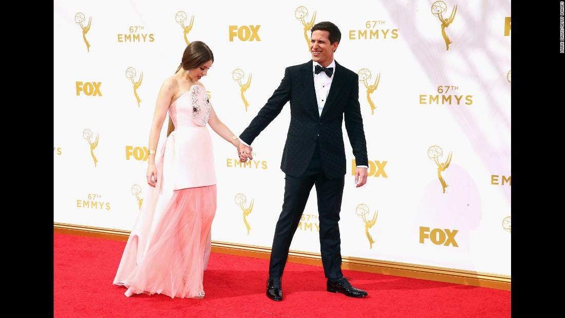 Host Andy Samberg and his wife, Joanna Newsom