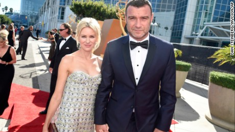 IMAGE DISTRIBUTED FOR THE TELEVISION ACADEMY - Naomi Watts, left, and Liev Schreiber arrive at the 67th Primetime Emmy Awards on Sunday, Sept. 20, 2015, at the Microsoft Theater in Los Angeles. (Photo by Dan Steinberg/Invision for the Television Academy/AP Images)