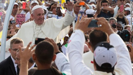 Pope Francis arrives for Mass at Revolution Plaza in Havana, Cuba, Sunday, Sept. 20, 2015. Pope Francis opens his first full day in Cuba on Sunday with what normally would be the culminating highlight of a papal visit: Mass before hundreds of thousands of people in Havana's Revolution Plaza. (AP Photo/Alessandra Tarantino)