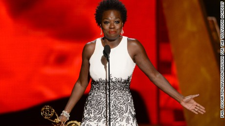 IMAGE DISTRIBUTED FOR THE TELEVISION ACADEMY - Viola Davis accepts the award for outstanding lead actress in a drama series for How to Get Away With Murder at the 67th Primetime Emmy Awards on Sunday, Sept. 20, 2015, at the Microsoft Theater in Los Angeles. (Photo by Phil McCarten/Invision for the Television Academy/AP Images)