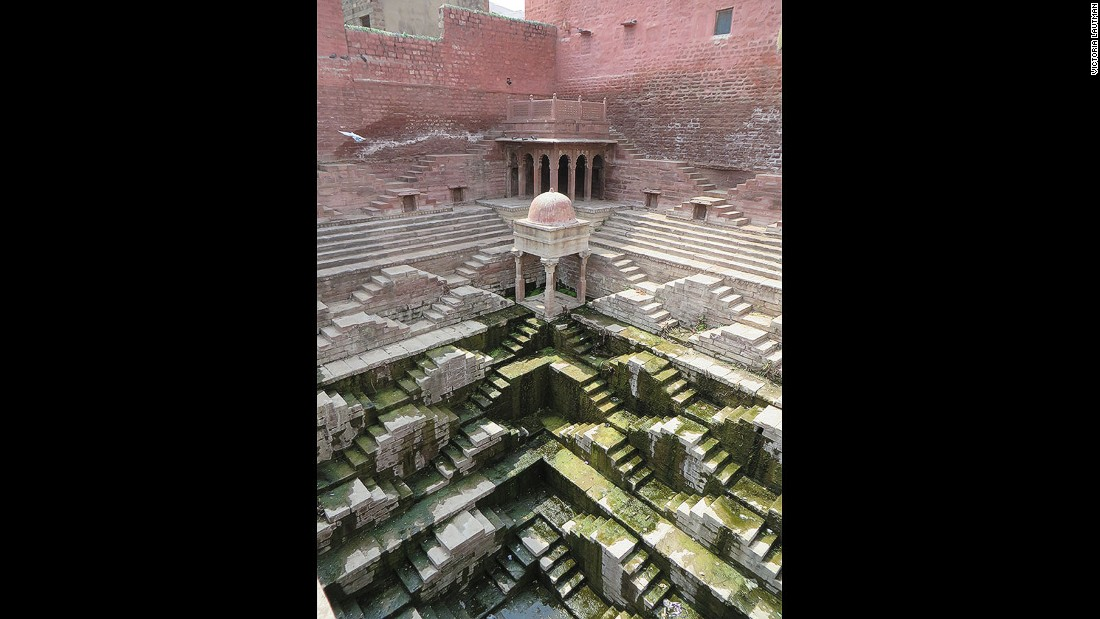 """""""This is another example of a kund, small but powerfully sculptural. The gradation of hues from pink to white to green (from algae) makes it one of the most colorful of all the stepwells I've visited, and it's a particular favorite."""""""