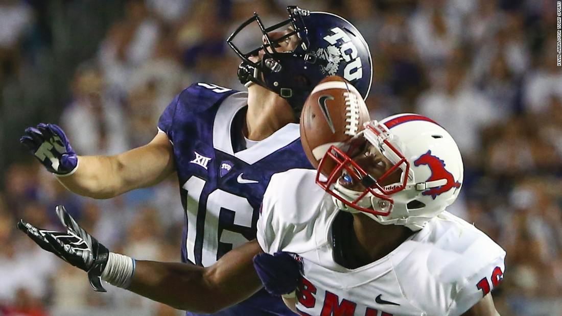 TCU's Michael Downing defends SMU's Courtland Sutton during a college football game in Fort Worth, Texas, on Saturday, September 19.