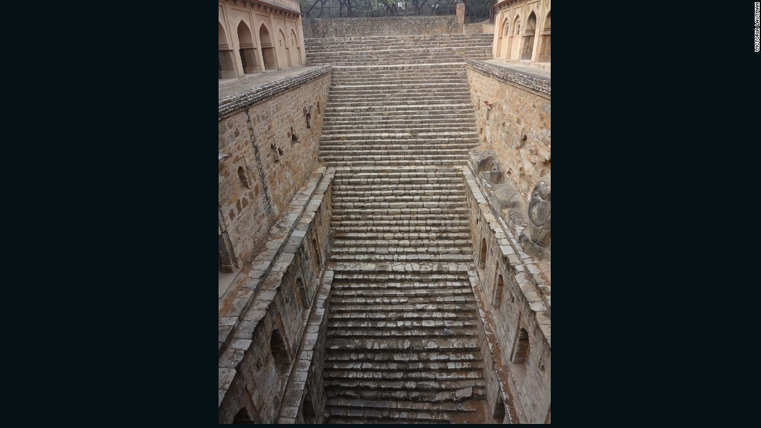 """""""There are a number of really wonderful stepwells in and around Delhi, some just a few yards from main tourist attractions, and yet even local guides have no idea that they exist or how to find them. Rajon ki baoli is located in the Mehrauli archeological park, itself a magical place studded with tombs and ruins. It's deep, in good shape, still harvests water, and its many levels of """"apartments make it such a fun place to explore."""""""