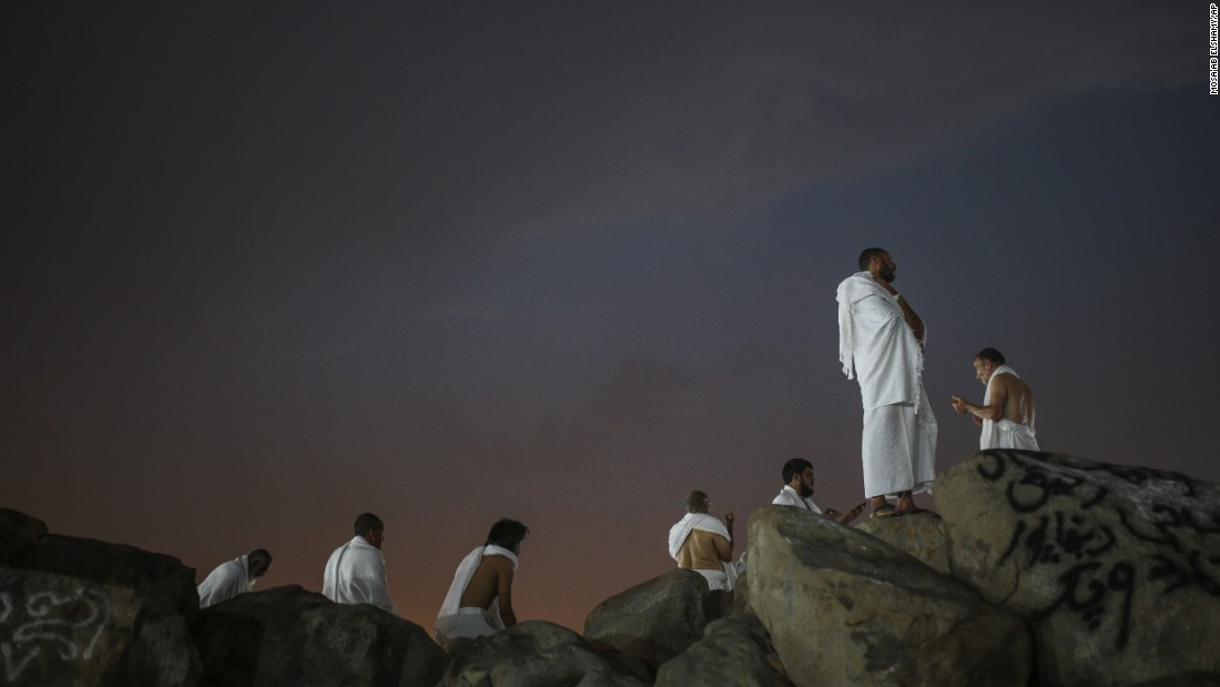 Muslim pilgrims pray on the Mountain of Mercy on Tuesday, September 22.
