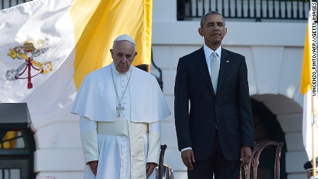 President Barack Obama stands next to Pope Francis during a welcoming ceremony at the White House on Wednesday, September 23.