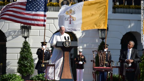 Pope Francis speaks during an arrival ceremony at the White House on Wednesday, September 23.