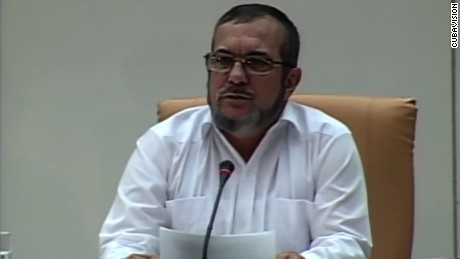 TIMOLEON JIMENEZ, ALIAS TIMOCHENKO, FARC MEMBER, DURING THE PRESS CONFERENCE IN HAVANA WHERE THEY ANNOUNCED A PEACE AGREEMENT WITH THE GOVERNMENT OF COLOMBIA.