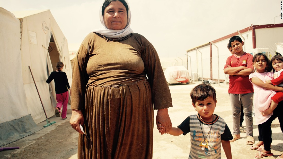 Gawre Murad, 40, and her son Aryan, four, escaped from Sinjar a year ago. <br />