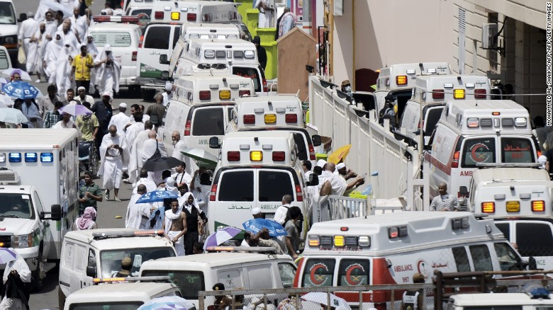 Saudi ambulances arrive with pilgrims who were injured in a stampede at an emergency hospital in Mina, near the holy city of Mecca, on the first day of Eid al-Adha on September 24, 2015. At least 310 people were killed and hundreds wounded during a stampede at the annual hajj in Saudi Arabia, in the second tragedy to strike the pilgrims this year. AFP PHOTO/MOHAMMED AL-SHAIKH        (Photo credit should read MOHAMMED AL-SHAIKH/AFP/Getty Images)