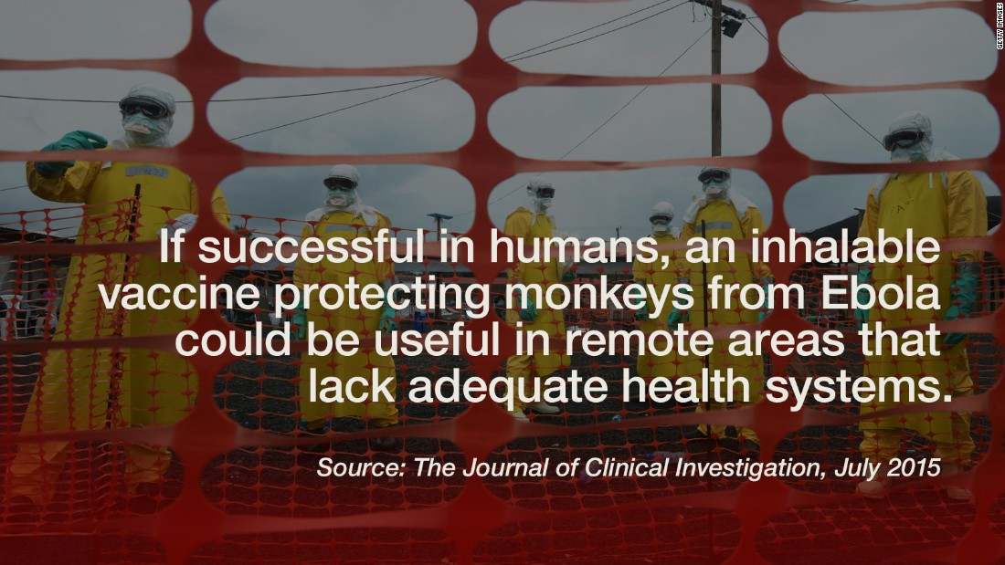 """A <a href=""""http://www.cnn.com/2015/07/17/health/results-are-in-ebola-vaccine-lyme-disease-als/"""">needle-free vaccine</a> has proven to protect monkeys against the Ebola virus. According to <a href=""""http://www.jci.org/articles/view/81532"""" target=""""_blank"""">The Journal of Clinical Investigation</a>, researchers successfully vaccinated monkeys against the Zaire ebolavirus, responsible for the current outbreak in West Africa. It is the first published test of aerosol delivery for an Ebola vaccine, which uses a nebulizer to change liquid into a mist that's inhaled into the lungs. While the vaccine was effective in protecting primates against Ebola, there's no guarantee it will work as well in humans. <br />The next step? A clinical trial in humans, according to the study's authors. Since training isn't necessary for administering an inhaled vaccine, a successful version would be especially useful in remote areas that lack adequate health systems. -- Liza Lucas and Ben Smart"""