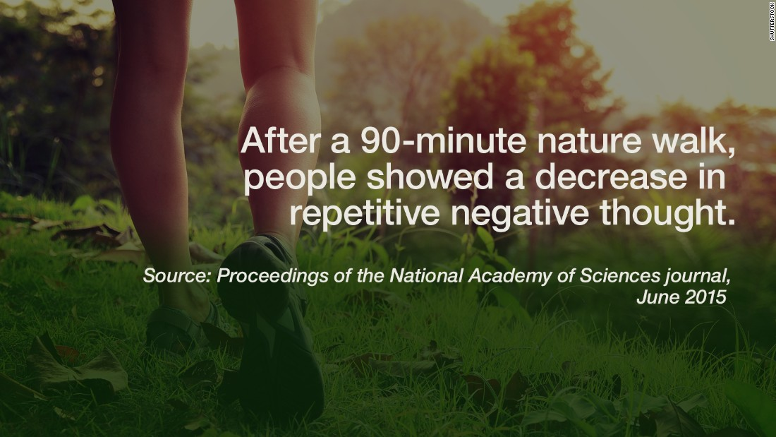 """No need to wait until your next vacation to recharge -- improving your brain chemistry could be as easy as taking a nature walk. In a <a href=""""http://www.pnas.org/content/112/28/8567.abstract"""" target=""""_blank"""">study</a> published in the Proceedings of the National Academy of Sciences journal, researchers randomly assigned 38 people to take a 90-minute walk in either a natural or urban setting near Stanford, California. Before and after their treks, participants were evaluated by a questionnaire and brain scan, measuring activity in the prefrontal cortex. Afterward, the nature walkers showed a decrease in self-reported rumination — or repetitive negative thought — and lower brain activity in areas linked to rumination. While the study was small, it suggests a nature experience might positively influence mental well-being. -- Liza Lucas and Ben Smart"""
