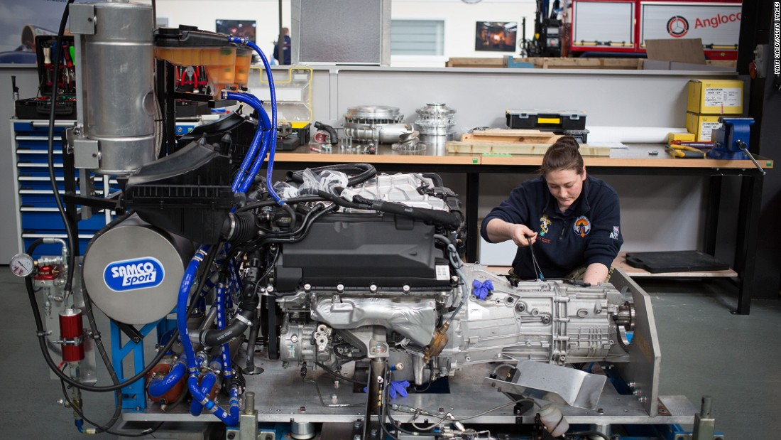 An engineer at work on the Bloodhound SSC engine in March 2015.