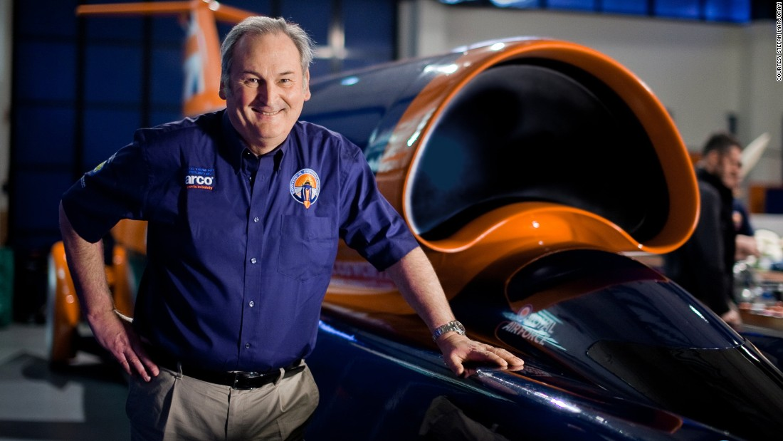 Project director Richard Noble with the Bloodhound SSC.