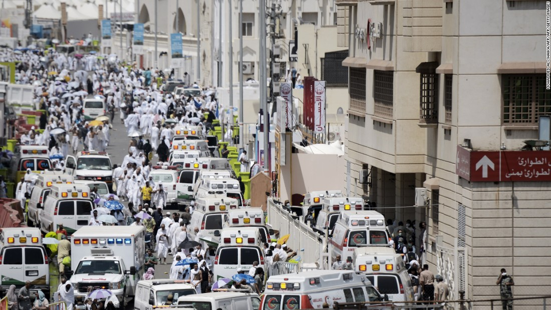 Saudi ambulances arrive on the scene.