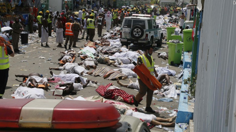 Bodies lie covered in sheets. The death toll has been climbing steadily.