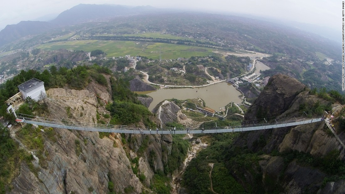 Shiniuzhai National Geological Park's glass bridge is 985-feet long.
