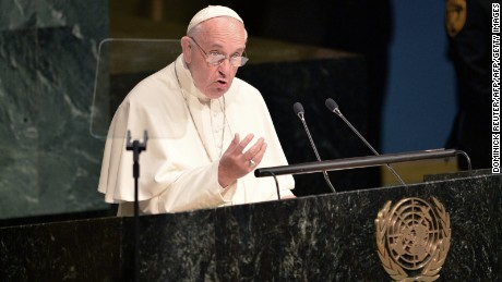 Pope Francis speaks during the 70th session of the United Nations General Assembly on September 25, 2015, at the United Nations in New York. AFP PHOTO/DOMINICK REUTER        (Photo credit should read DOMINICK REUTER/AFP/Getty Images)