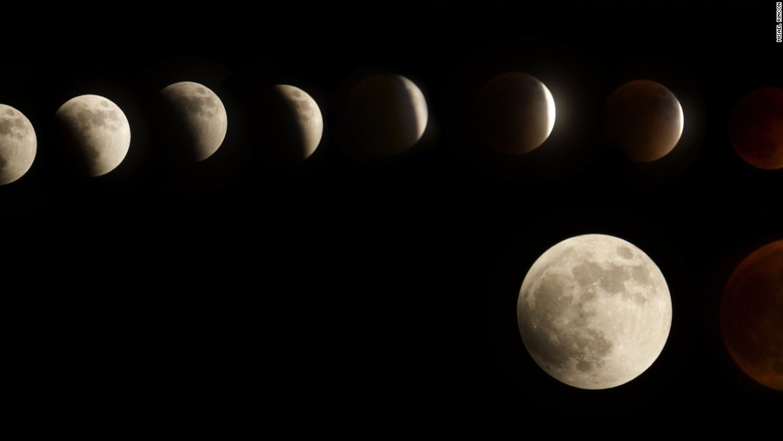 """<a href=""""http://ireport.cnn.com/docs/DOC-1272893"""">Misael Rincon</a> created this composite image of Sunday night's supermoon eclipse over Santo Domingo in the Dominican Republic."""
