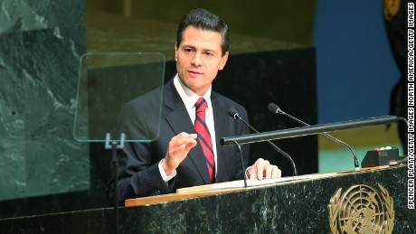 NEW YORK, NY - SEPTEMBER 28:  Mexican President Enrique Pena Nieto addresses the United Nations General Assembly at U.N. headquarters on September 28, 2015 in New York City. The ongoing war in Syria and the refugee crisis it has spawned are playing a backdrop to this years 70th annual General Assembly meeting of global leaders.  (Photo by Spencer Platt/Getty Images)