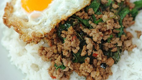 Stir-fried pork and basil topped with a fried egg. So simple, so wonderful.