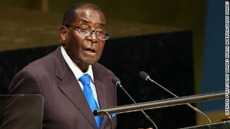 NEW YORK, NY - SEPTEMBER 28:  Zimbabwe's President Robert Mugabe speaks at the United Nations General Assembly on September 28, 2015 in New York City. The ongoing war in Syria and the refugee crisis it has spawned are playing a backdrop to this years  70th annual General Assembly meeting of global leaders.  (Photo by Spencer Platt/Getty Images)