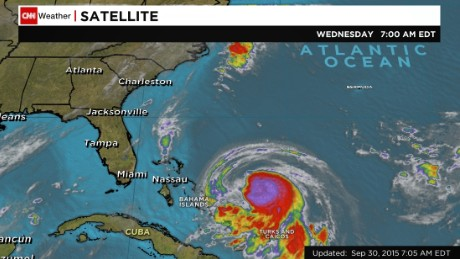Tropical storm Joaquin shortly before it was classified as a hurricane