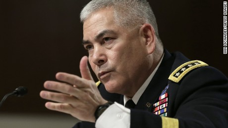Gen. John Campbell testifies before the Senate Armed Services Committee on February 12, 2015 in Washington, D.C.