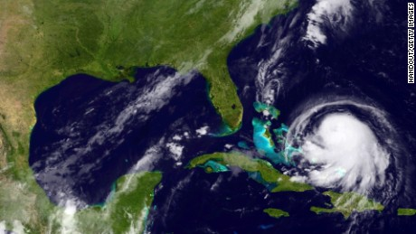 IN SPACE - SEPTEMBER 30:  In this handout from the National Oceanic and Atmospheric Administration (NOAA), Hurricane Joaquin is seen chruning in the Caribbean September 30, 2015. Joaquin was upgraded to a category 1 hurricane early on September 30. The exact track has yet to be determined, but there is a  possibity of landfall in the U.S. anywhere from North Carolina to the Northeast.  (Photo by NOAA via Getty Images)