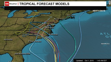 Projected tracks for Hurricane Joaquin