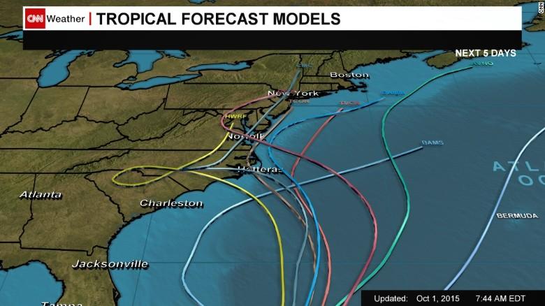 Computer forecast models for Hurricane Joaquin as of 7:44 a.m. ET Thursday.