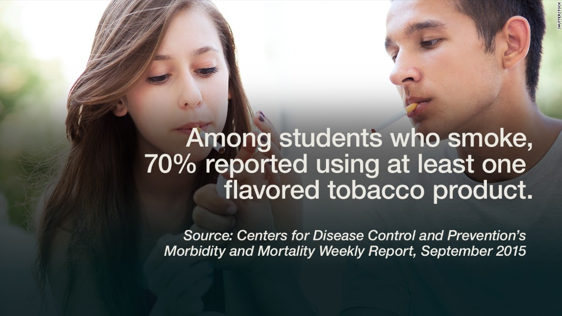 """An estimated 4.6 million American middle and high school students are current users of tobacco products, according to the <a href=""""http://www.cdc.gov/mmwr/preview/mmwrhtml/mm6438a1.htm"""" target=""""_blank"""">2014 National Youth Tobacco Survey</a>, and of those young smokers, 70% reported using at least one flavored tobacco product in the past 30 days. """"Flavored tobacco products are enticing a new generation of America's youth into nicotine addiction,"""" Dr. Tom Frieden, director of the Centers for Disease Control and Prevention, said in a news release. For the 18% of all high school students who have used at least one flavored tobacco product in the past month, e-cigarettes were most common, followed by hookah, cigars, menthol cigarettes, smokeless tobacco, and finally, pipes. <a href=""""http://www.ncbi.nlm.nih.gov/pmc/articles/PMC3615117/pdf/nihms440149.pdf"""" target=""""_blank"""">Some studies</a> have shown that early, regular cigarette smoking means higher risk for heavier use, long-term use and greater difficulty quitting. There is major concern about harmful effects that tobacco use has on the <a href=""""http://www.cnn.com/2011/10/19/health/mental-health/teen-brain-impulses/index.html"""">developing teen brain</a>, which is hardwired for risky business. -- Viola Lanier <br />"""